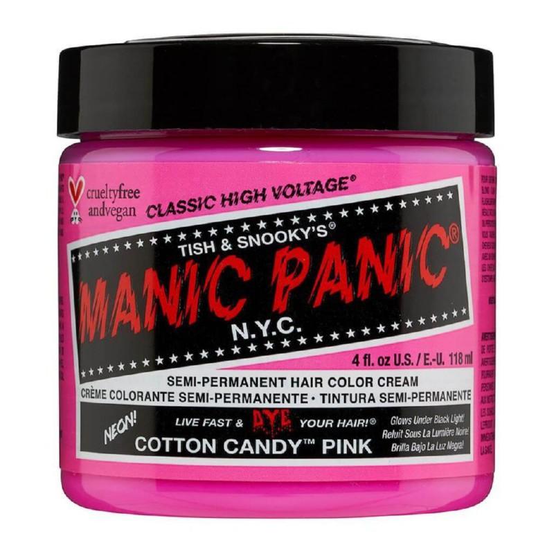 Pusiau ilgalaikiai, kreminiai plaukų dažai Manic Panic Hair Color Cream Neon Cotton Candy Pink MEU11004, 118 ml
