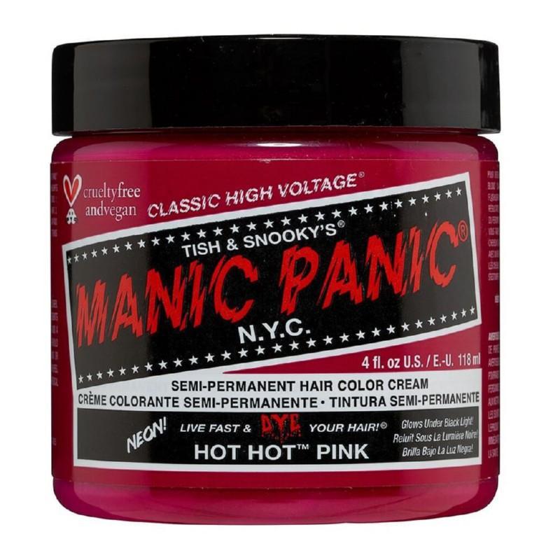 Pusiau ilgalaikiai, kreminiai plaukų dažai Manic Panic Hair Color Cream Neon Hot Hot Pink MEU11015, 118 ml