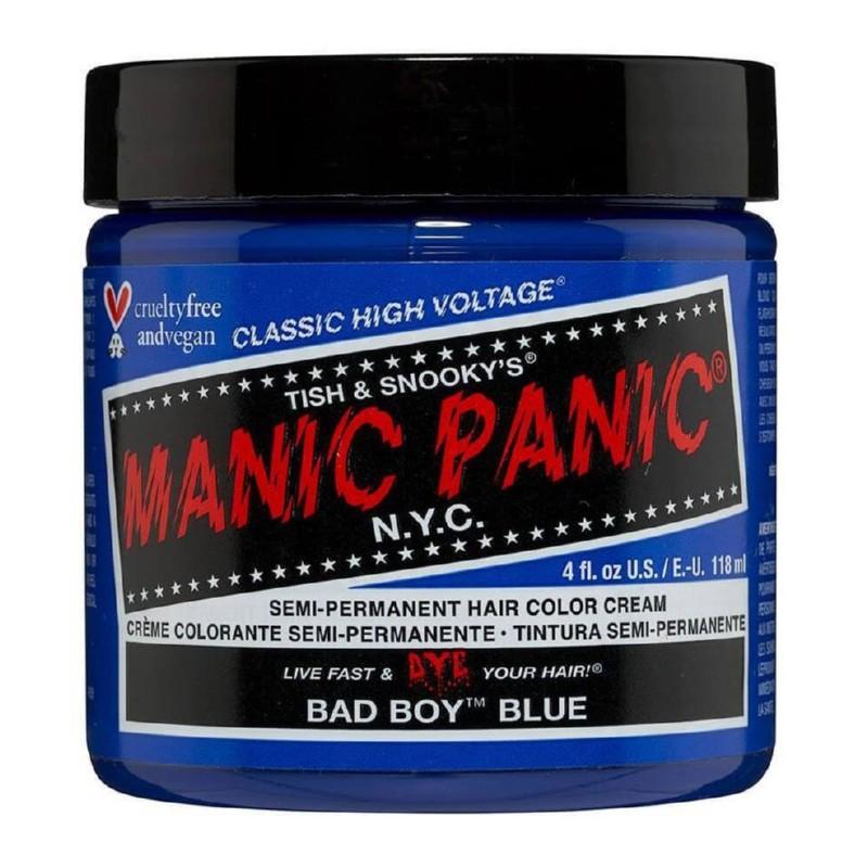 Pusiau ilgalaikiai, kreminiai plaukų dažai Manic Panic Hair Color Cream Bad Boy Blue MEU11017, 118 ml