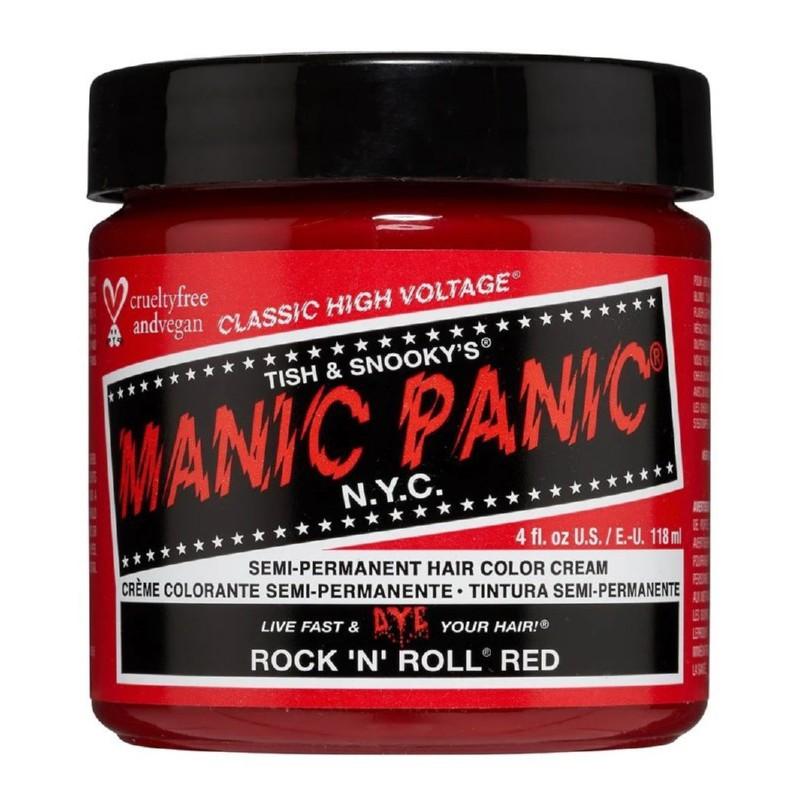 Pusiau ilgalaikiai, kreminiai plaukų dažai Manic Panic Hair Color Cream Rock'N'Roll Red MEU11035, 118 ml