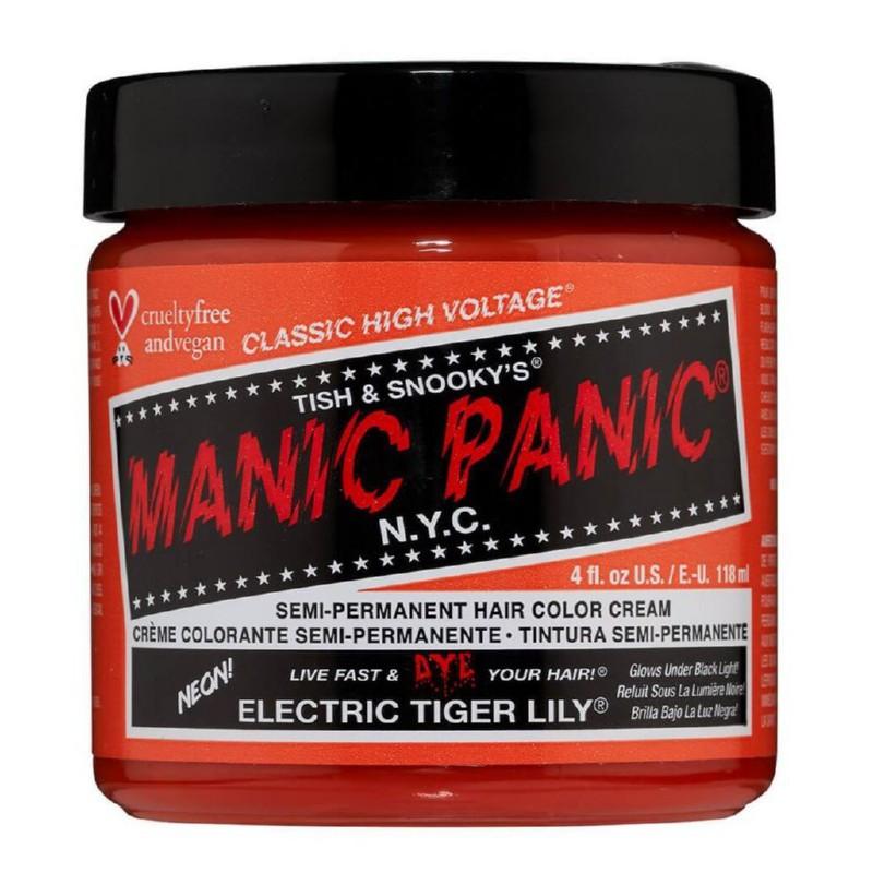 Pusiau ilgalaikiai, kreminiai plaukų dažai Manic Panic Hair Color Cream Neon Electric Tiger Lily MEU11037, 118 ml