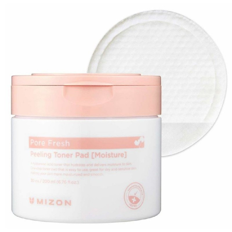 Šveičiamieji padeliai veido odos valymui Mizon Pore Fresh Peeling Toner Pad Moisture MIZ000009799, drėkina odą, skirti sausai odai, 30 padelių