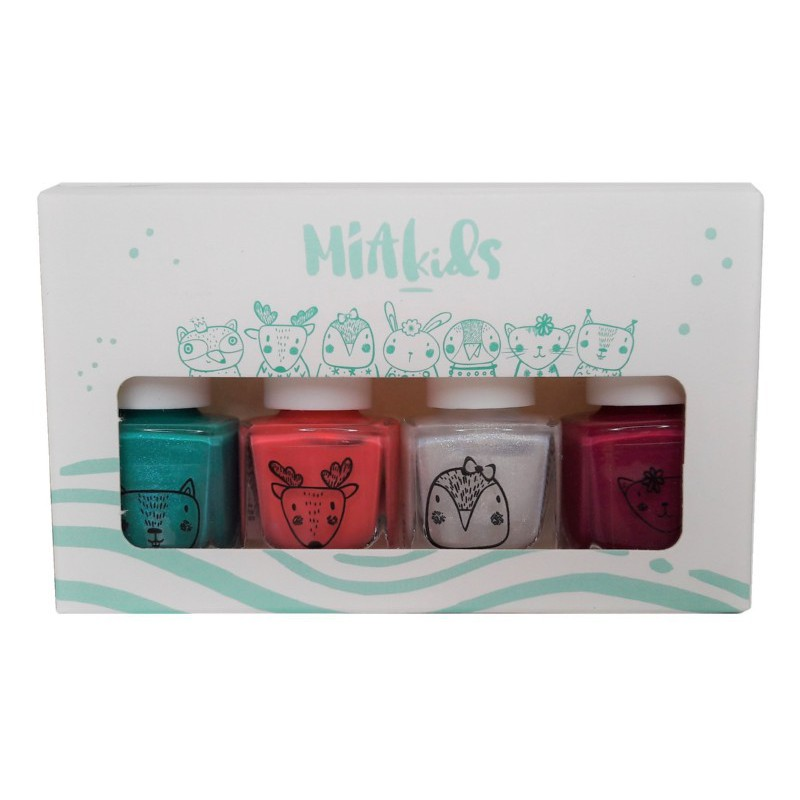 Vaikiškų, nuplaunamų nagų lakų rinkinys MIA Kids Gift Box MIABOX, rinkinį sudaro 4 nagų lakai po 5 ml