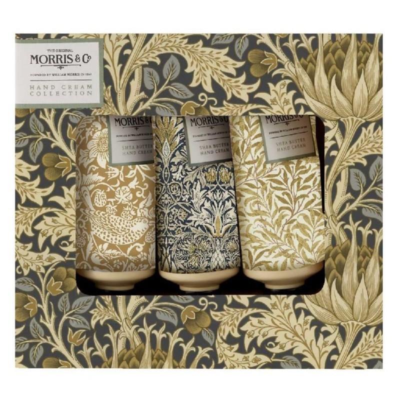 Rankų priežiūros rinkinys Heathcote & Ivory Morris Iris & Cardamom Hand Cream Trio MOFG3143, rinkinį sudaro trys rankų kremai, 3 x 30 ml