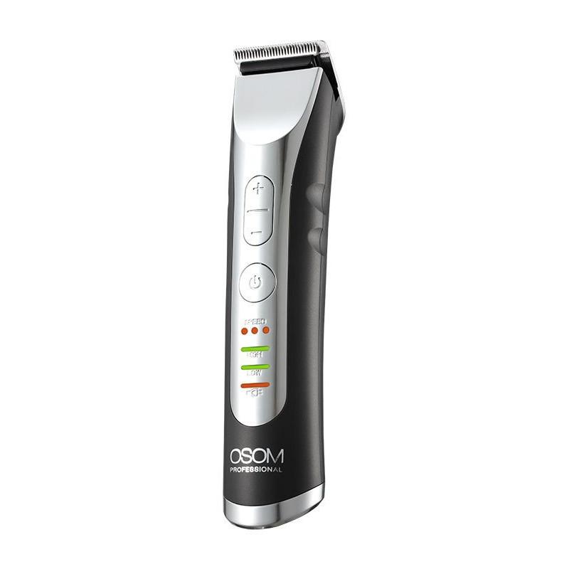 Profesionali plaukų kantavimo mašinėlė - trimeris OSOM Professional Hair Trimmer OSOMHTCHC338, LiFePo4 baterija, 100-240 V, 50/60 Hz, pilkos spalvos