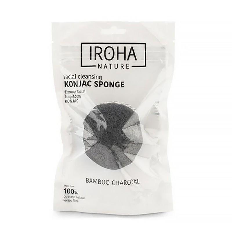 Kempinėlė veidui Konjac Iroha Nature Charcoal INKONJAC1, pagaminta iš 100% natūralios bambuko anglies, detoksikuojanti