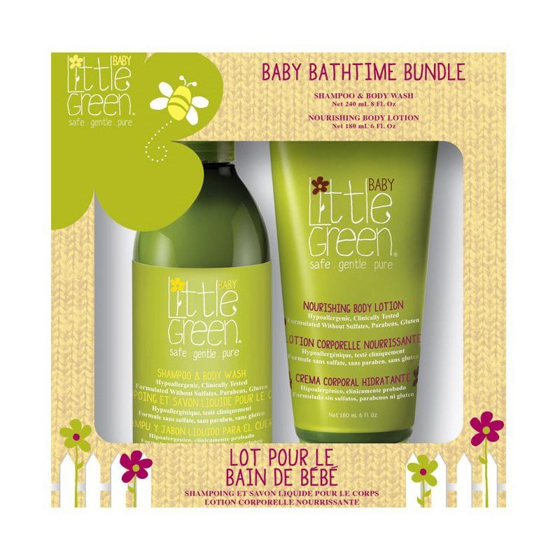 Plaukų ir kūno priežiūros priemonių rinkinys Little Green Baby Bathtime Bundle LGBBB19, rinkinį sudaro: plaukų šampūnas ir kūno prausiklis kūdikiams, 240 ml, kūno losjonas kūdikiams, 180 ml