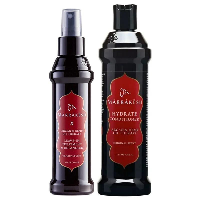 Plaukų priežiūros priemonių rinkinys Marrakesh MKCX001, rinkinį sudaro plaukų iššukavimą lengvinanti priemonė Marrakesh X Detangler Original, 118 ml ir kondicionierius plaukams Marrakesh Conditioner Original, 355 ml