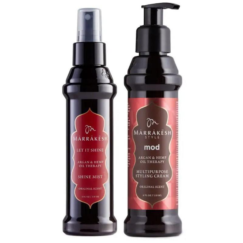 Plaukų priežiūros priemonių rinkinys Marrakesh MKMS001C, rinkinį sudaro žvilgesio plaukams suteikiantis serumas Marrakesh Let It Shine, 118 ml ir daugiafunkcis plaukų formavimo kremas Marrakesh Mod Multipurpose Styling Cream, 118 ml