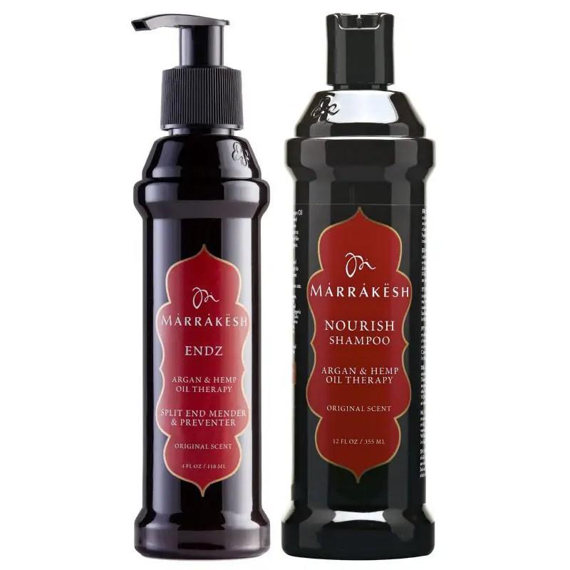 Plaukų priežiūros priemonių rinkinys Marrakesh MKSE001, rinkinį sudaro priemonė išsišakojusių plaukų galiukų priežiūrai Marrakesh Endz Original, 118 ml ir šampūnas plaukams Marrakesh Shampoo Original, 355 ml