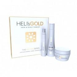 Plaukų priežiūros priemonių rinkinys Heli's Gold Hair&Scalp Therapy The Revival Series HELA570012K, skirtas dažytiems, sausiems ir pažeistiems plaukams