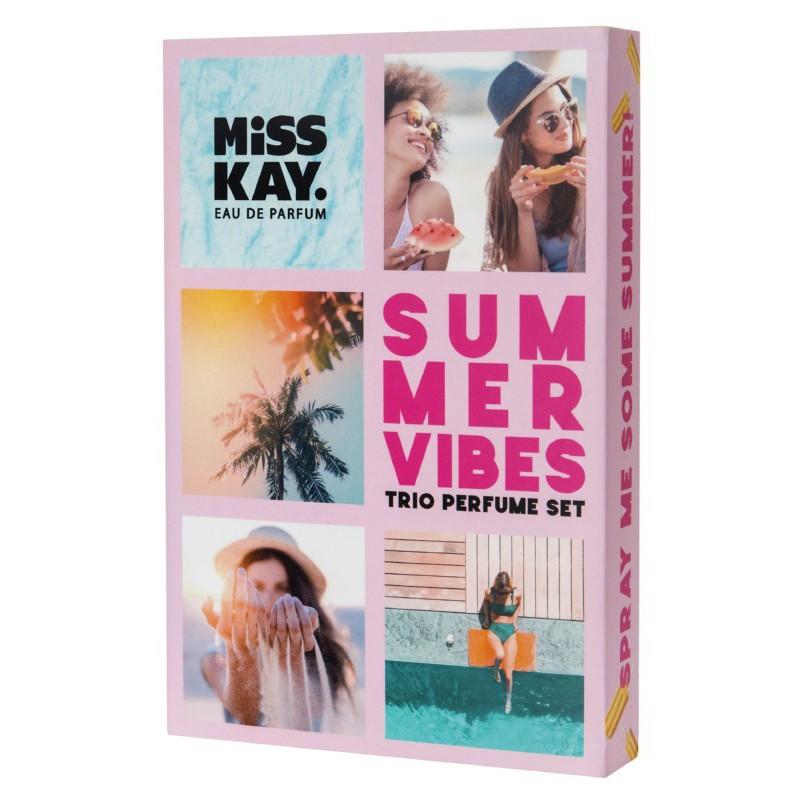 Parfumuoto vandens rinkinys Miss Kay Summer Vibes Kit EDP40127, sudaro 3 kvapai, 25 ml x 3, Limited edition