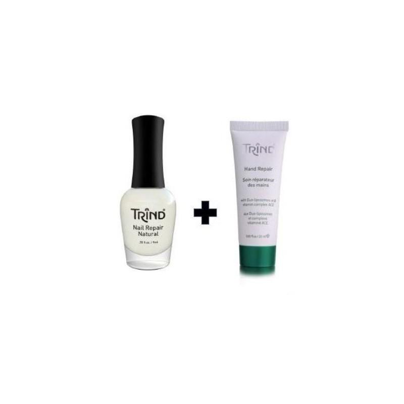 Bespalvis nagų stipriklis Trind Nail Repair Natural, 9 ml, ir rankų kremas Trind Hand Repair Cream, 25 ml, TR60010037