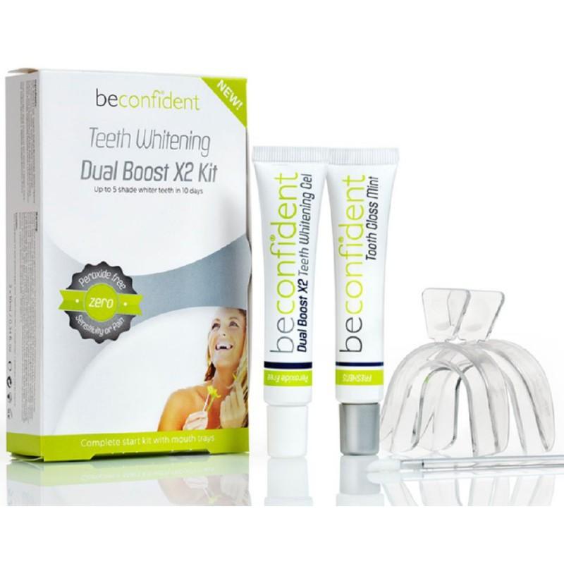 Dantų balinimo rinkinys BeConfident Teeth Whitening Dual Boost X2 Kit BEC122097, be peroksido, kapos,10 ml balinamasis gelis ir 10 ml žvilgesio dantims suteikianti priemonė