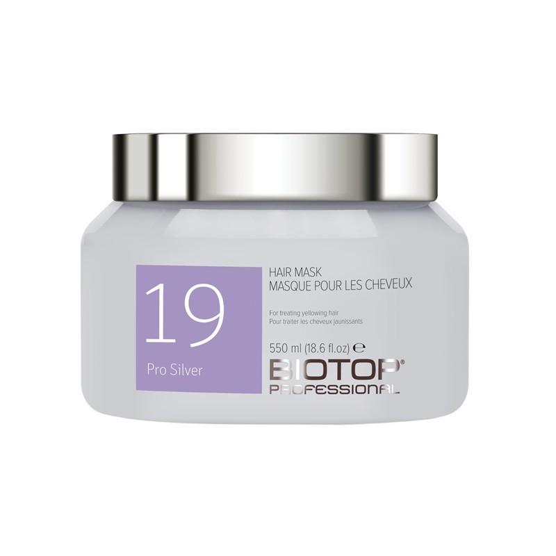Kaukė šviesiems plaukams BIOTOP Professional 19 Pro Silver Hair Mask BIO83543, neutralizuoja geltoną atspalvį, 550 ml