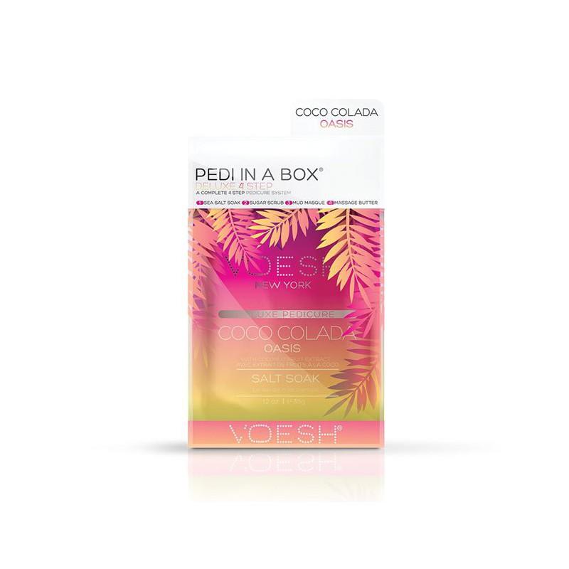 Procedūra kojoms Voesh Pedi In A Box 4 in 1 Coco Colada Oasis VPC208COL, su kokosų ekstraktu, gaivina, drėkina pėdų odą