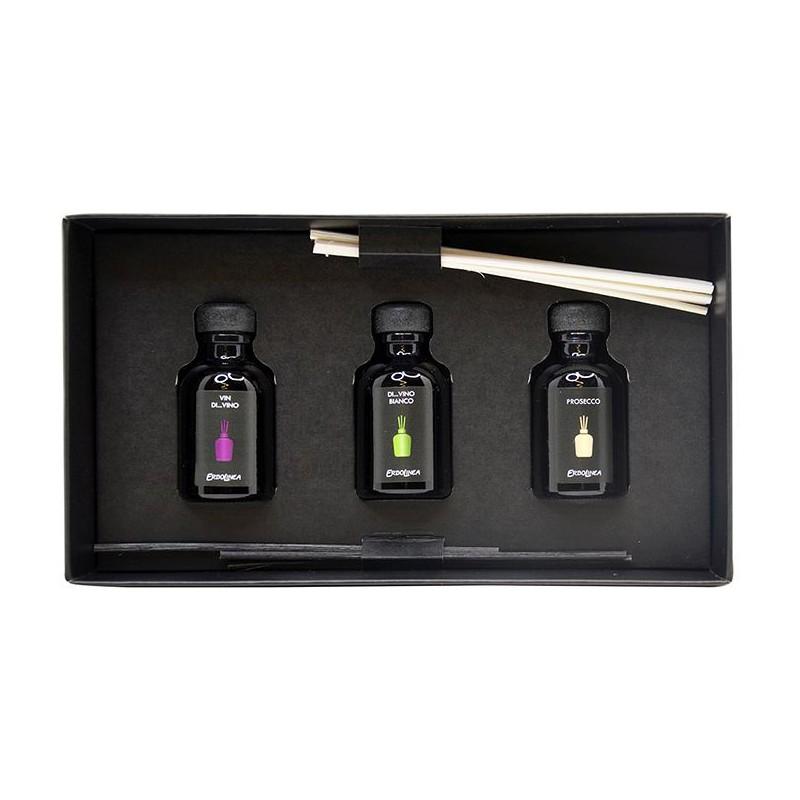 Kvapų namams su lazdelėmis rinkinys Erbolinea Prestige ERBPACK1B, rinkinį sudaro 3 kvapai - Vin Di Vino, Vino Bianco, Prosecco po 30 ml.