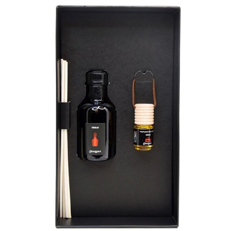 Rinkinys - Kvapų namams su lazdelėmis ir kvapas automobiliui Erbolinea Prestige Terrae ERBPACK4TER, 50 ml ir 5 ml