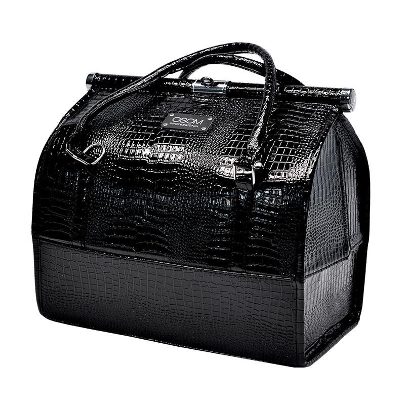Lagaminas makiažo priemonėms Osom Professional Leather Soft Sided Cosmetic Case OSOMKSC080BL, kosmetologams, juodos spalvos