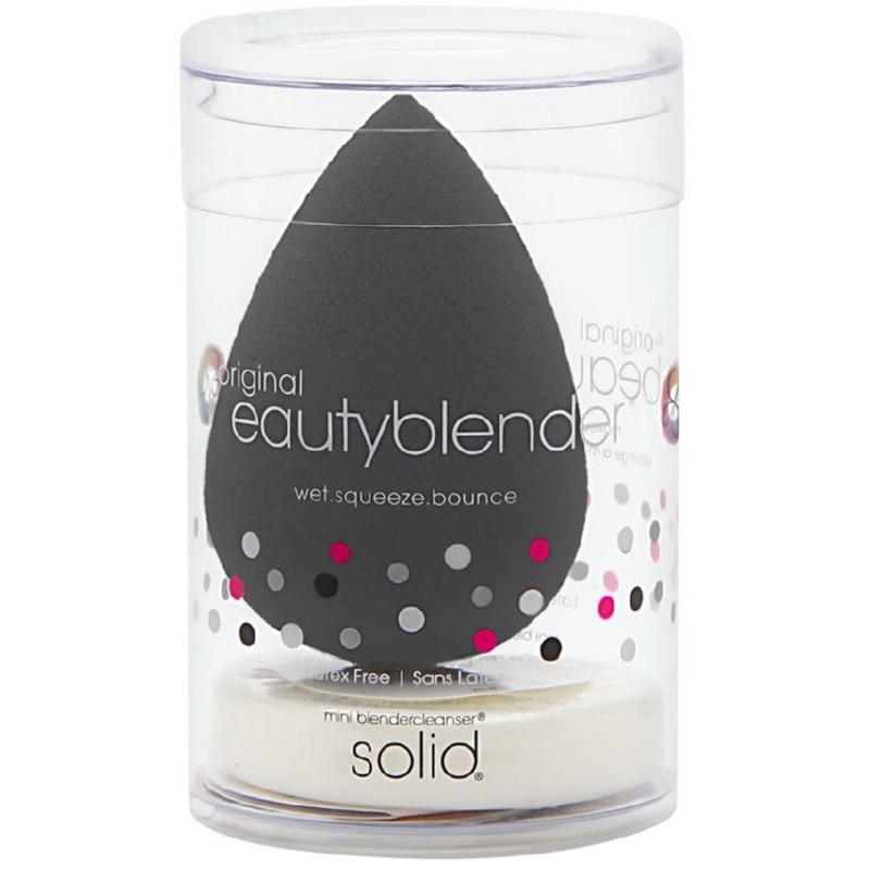 Makiažo kempinėlė BeautyBlender Pro Black BB5554, juodos spalvos, su makiažo kempinėlių mini valikliu