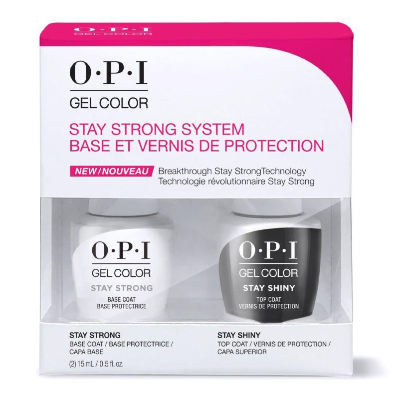 Rinkinys - Gelio - lako pagrindas ir viršutinis sluoksnis OPI Gel Color Stay Strong System OPISPK54, 2 x 15 ml