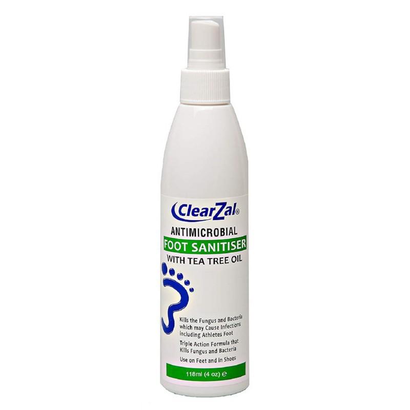 Antibakterinis purškiklis pėdoms ClearZal Foot Sanitiser Pump Bottle DD804FS, purškiklis pašalina bakterijas ir grybelį, 118 ml