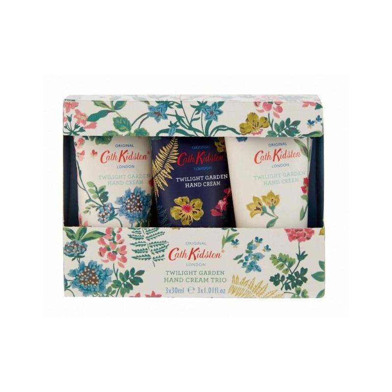 Rinkinys rankoms Heathcote & Ivory Cath Kidston Twilight Garden Jasmine & Mandarine Hand Cream Trio CKFG1600,  rinkinį sudaro trys rankų kremai, 3 x 30 ml