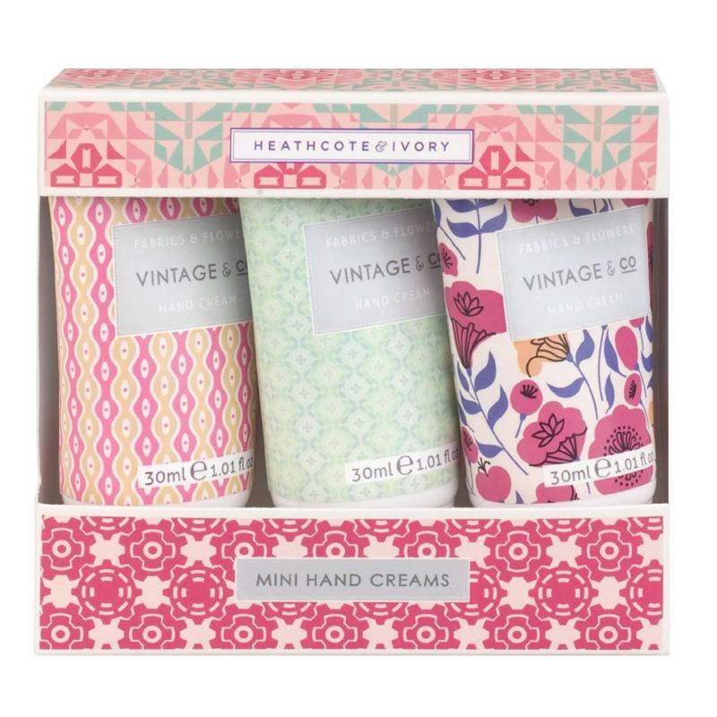 Rinkinys rankoms Heathcote & Ivory Vintage Fabrics & Flowers Mini Hand Cream Trio FFFG1821, rinkinį sudaro trys rankų kremai, 3 x 30 ml