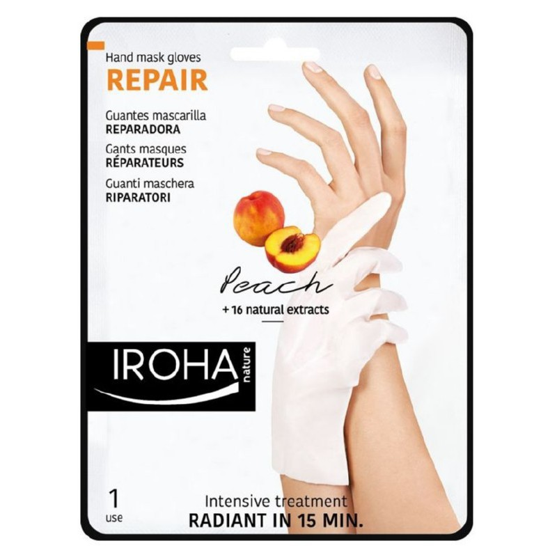 Kaukė rankoms Iroha Regenerating Peach Hand & Nail Gloves INHAND1 su persikais, 1 pora pirštinių