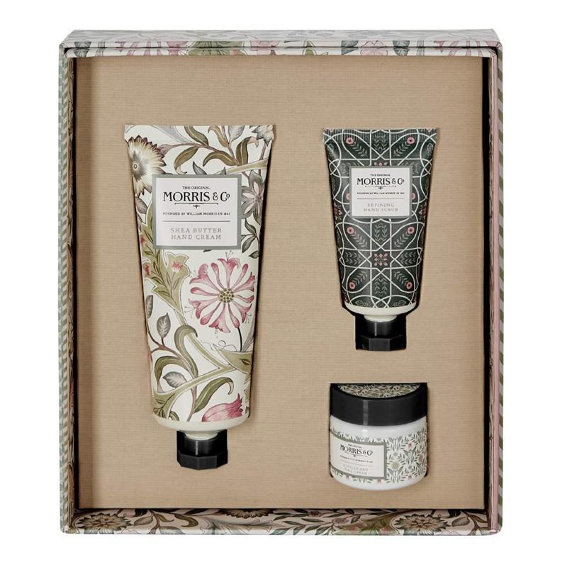 Rankų priežiūros rinkinys Heathcote & Ivory Morris Jasmine & Green Tea Hand Care Treats MOFG9519, rinkinį sudaro: rankų kremas, 100 ml, rankų šveitiklis, 30 ml, nagų ir odelių kremas, 35 ml
