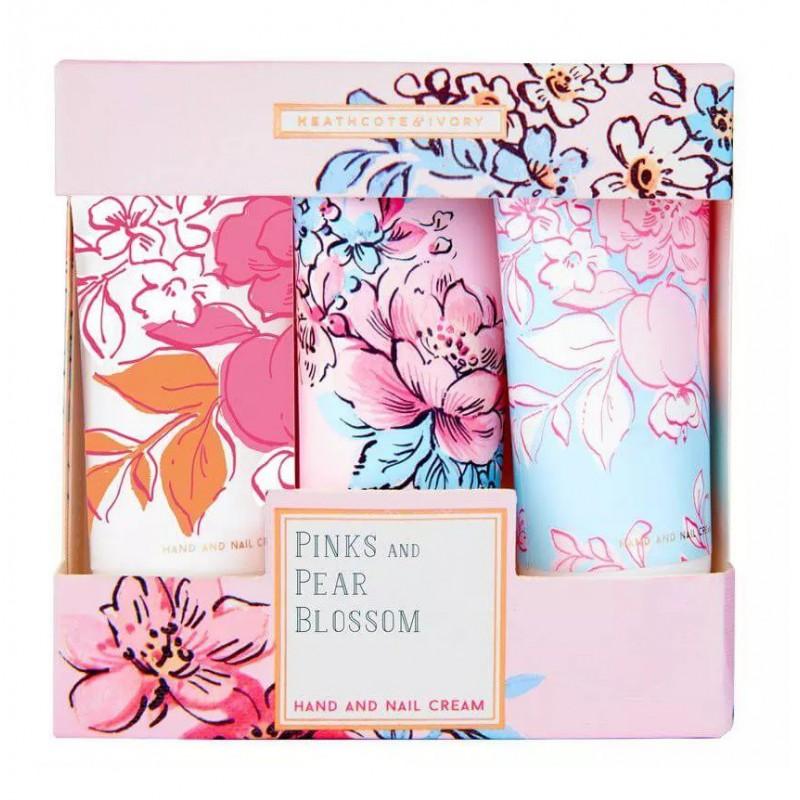 Rankų ir nagų kremų rinkinys Heathcote & Ivory Pinks and Pear Blossom Hand and Nail Cream Collection, PBFG2826, 3 x 30 ml