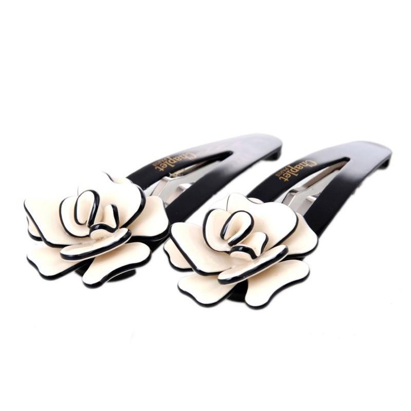 Plaukų segtukai Chaplet AS18013W, baltos gėlytės, 2 vnt