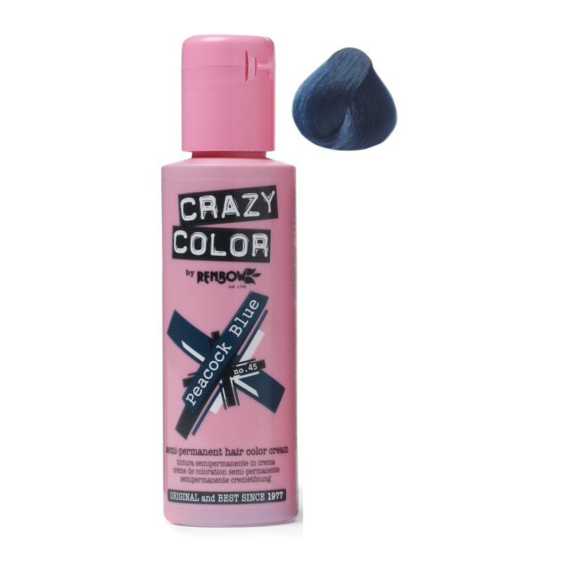 Plaukų dažai Crazy Color COL002235, pusiau ilgalaikiai, 100 ml, 45 žalsvai mėlyna