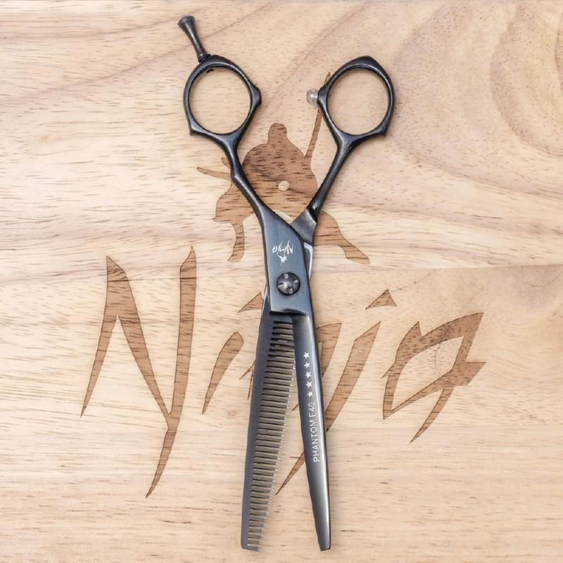 Profesionalios plaukų filiravimo žirklės Ninja Scissors Phantom Thinner NIN12066, ilgis 16,5 cm, dešinei rankai