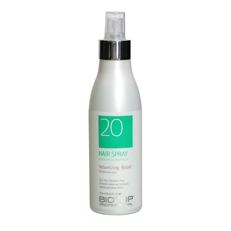 Apimties plaukams suteikiantis purškiklis BIOTOP Volumizing Boost Hair Spray BIO19782, pažeistiems ir silpniems plaukams, 250 ml