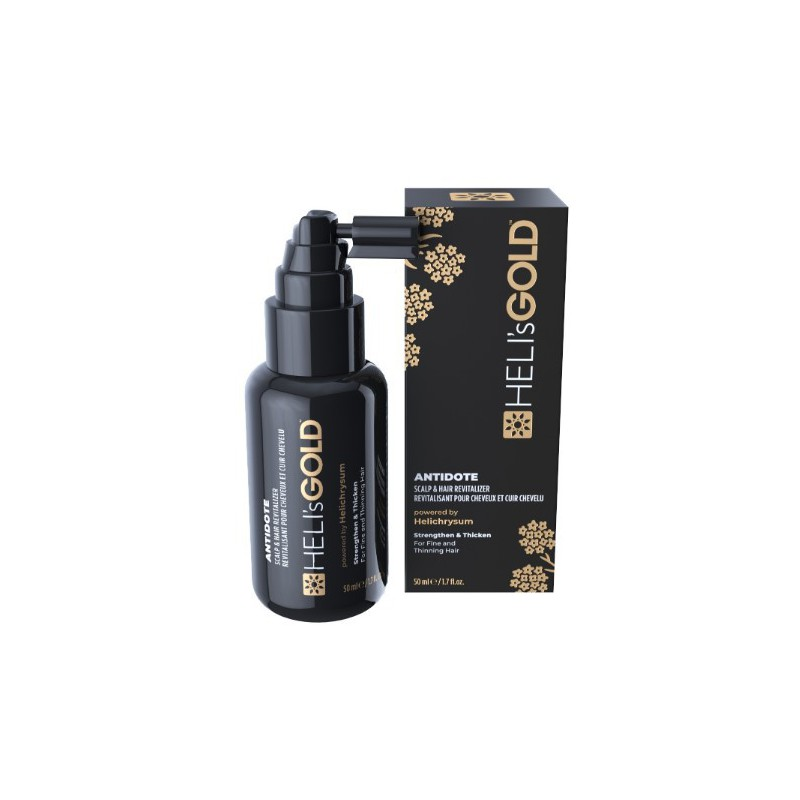 Atgaivinanti priemonė plaukams ir galvos odai Heli's Gold Antidote - Hair & Scalp Revitalizer HELA550060T, ploniems plaukams, 50 ml
