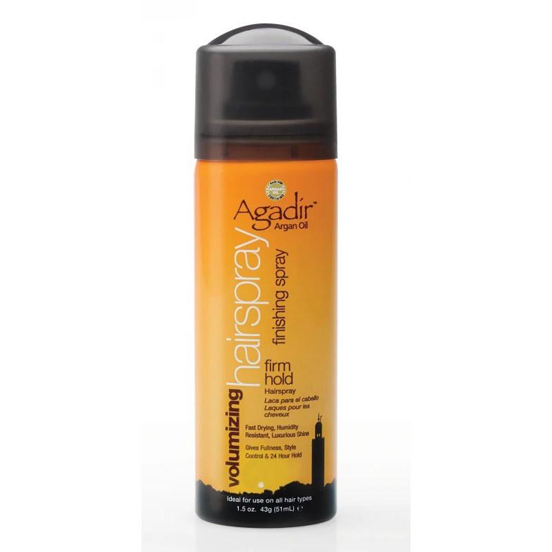 Apimties teikiantis lakas plaukams Agadir Argan Oil Volumizing Hair Spray AGD2074, skirtas plaukų formavimui, suteikia apimties ir žvilgesio, kelioninė pakuotė, 43 g.