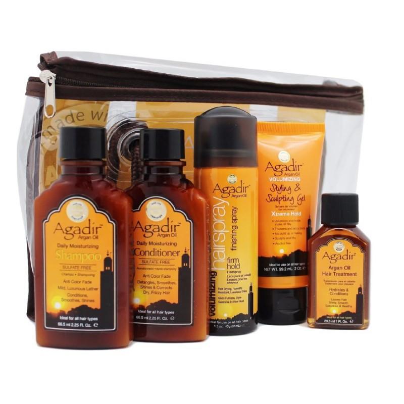 Kelioninis plaukų priežiūros priemonių rinkinys AGD18, rinkinį sudaro plaukų lakas, 43 g, šampūnas, 66,5 ml, kondicionierius, 66,5 ml, aliejus, 29,6 ml, ir formavimo gelis plaukams, 59,2 ml