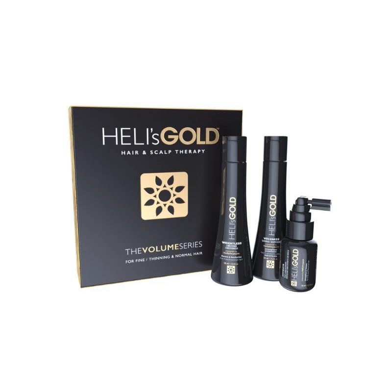 Plaukų priežiūros priemonių rinkinys Heli's Gold Hair&Scalp Therapy The Volume Series HELA570015K. Rinkinį sudaro: plaukų apimtį didinantis šampūnas, 100 ml, neapsunkinantis kondicionierius, 100 ml, ir atgaivinanti priemonė plaukams ir galvos odai, 50 ml