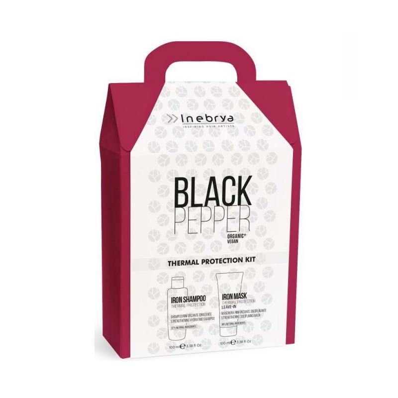 Plaukų priežiūros priemonių rinkinys Inebrya Black Pepper Christmas Box ICE600094, su juodaisiais pipirais, rinkinį sudaro: plaukus nuo karščio saugantis šampūnas 100 ml ir plaukus nuo karščio sauganti kaukė 100 ml
