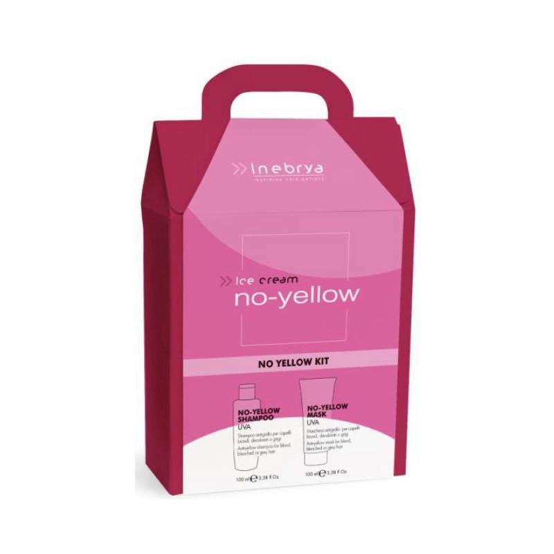 Plaukų priežiūros priemonių rinkinys Inebrya No-Yellow Christmas Box ICE600095, rinkinį sudaro: geltoną atspalvį neutralizuojantis šampūnas plaukams 100 ml ir geltoną atspalvį neutralizuojanti kaukė plaukams 100 ml