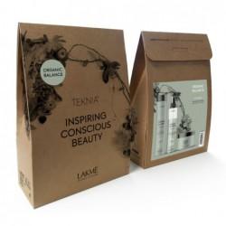 Rinkinys plaukų priežiūrai Lakme Teknia Organic Balance Retail Pack, LAK44116, rinkinį sudaro: šampūnas plaukams, 300 ml, plaukų kaukė, 250 ml, purškiklis plaukams, 200 ml