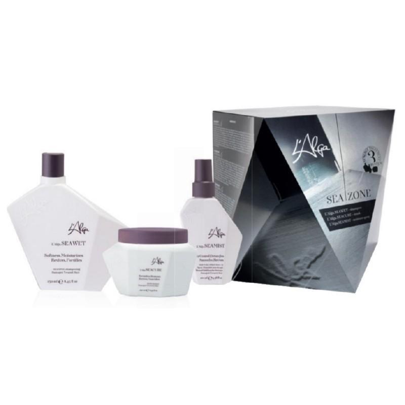 Plaukų priežiūros priemonių rinkinys L'Alga Seazone Kit LALA600201, rinkinį sudaro: šampūnas plaukams, 250 ml, kaukė plaukams, 250 ml ir losjonas - dulksna plaukams, 100 ml