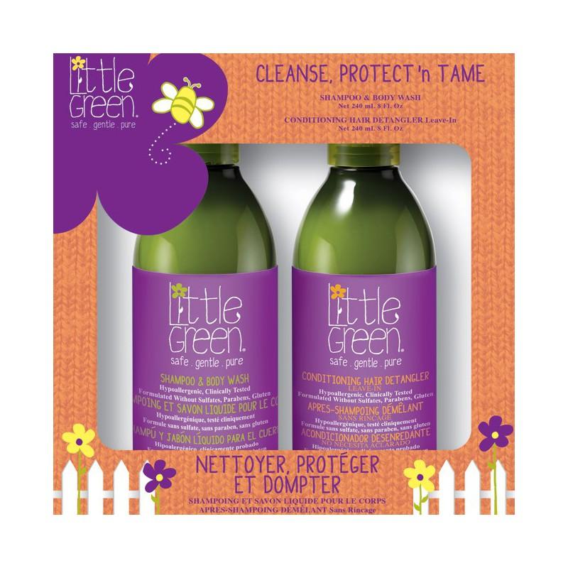 Rinkinys plaukų priežiūrai vaikams Little Green Cleanse, Protect'n Tame LGKCPT19, rinkinį sudaro: plaukų šampūnas ir kūno prausiklis vaikams 240 ml ir nenuplaunama plaukų dulksna vaikams 240 ml
