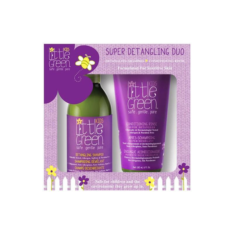 Rinkinys plaukų priežiūrai vaikams Little Green Kids Super Detangling Duo LGKSDD, rinkinį sudaro: plaukų šampūnas 240 ml ir plaukų kondicionierius 180 ml
