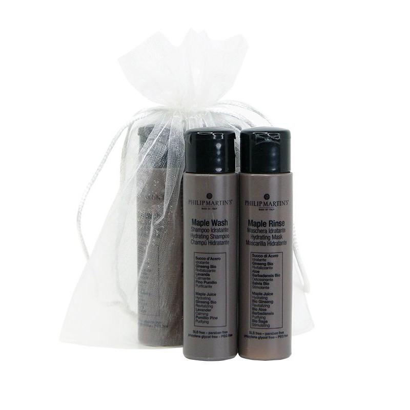 Plaukų priežiūros priemonių rinkinys Philip Martin's Mini Maple, rinkinį sudaro: drėkinamasis plaukų šampūnas Philip Martin's Maple Wash, 30 ml ir plaukus drėkinantis kondicionierius Philip Martin's Maple Rinse, 30 ml