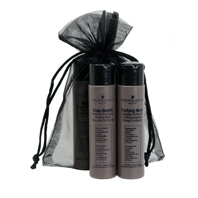 Plaukų priežiūros priemonių rinkinys Philip Martin's Mini Purifying & Scalp, rinkinį sudaro: valomasis plaukų šampūnas Philip Martin's Purifying Wash, 30 ml ir plaukus ir galvos odą maitinanti priemonė Philip Martin's Scalp Benefit, 30 ml