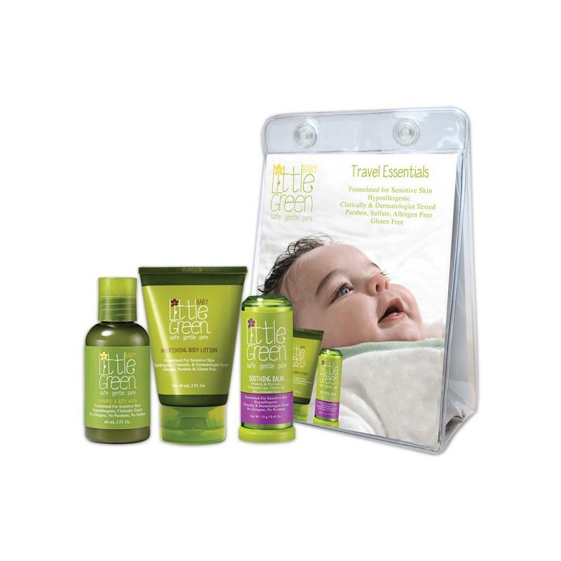 Mini plaukų ir kūno priežiūros rinkinys kūdikiams Little Green Baby Travel Essentials PRLG13101, rinkinį sudaro: plaukų šampūnas ir kūno prausiklis 60 ml, kūno losjonas kūdikiams 60 ml ir kūną raminantis balzamas 13 g