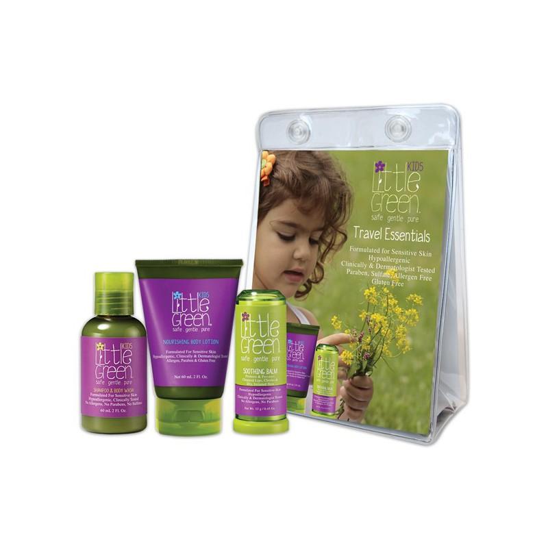 Mini plaukų ir kūno priežiūros rinkinys vaikams Little Green Kids Travel Essentials PRLG13102, rinkinį sudaro: plaukų šampūnas ir kūno prausiklis 60 ml, kūno losjonas vaikams 60 ml ir kūną raminantis balzamas 13 g
