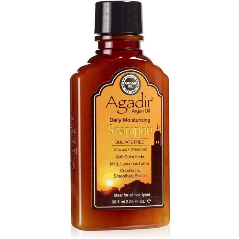 Drėkinantis plaukų šampūnas Agadir Argan Oil Moisturizing Hair Shampoo AGD2043, skirtas plaukų drėkinimui, tinka kasdieniniam naudojimui, saugo plaukų spalvą, sudėtyje yra argano aliejaus, kelioninė pakuotė, 66.5 ml